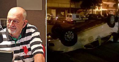 Abrazian culpó al taxista por el espectacular vuelco y agravió a quienes opinaron en facebook