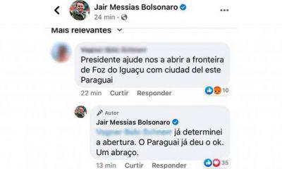 Bolsonaro confirmó reapertura de la frontera en un comentario de Facebook