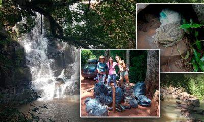 """Vecinos limpian el Salto del Turista: """"Había un sapo abrazado a un pañal"""""""