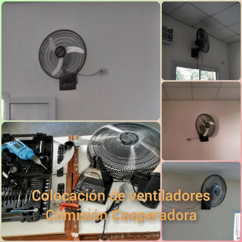 Un profe pasó el feriado instalando ventiladores