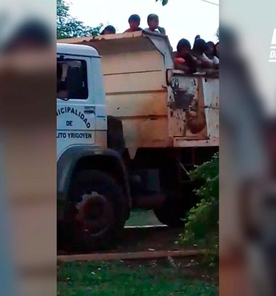 Trasladan a niños de comunidad mbya en un camión de la Muni de Yrigoyen