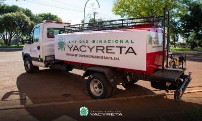 Yacyretá entrega un camión al cuartel de bomberos de Santa Ana