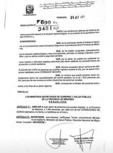 Resolución de los ministerios de Gobierno y Salud Pública.